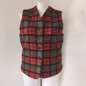 Eddie Bauer Plaid Wool Vest Size Large.